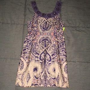 Jeweled A-Line Mini Dress sz 2 Hippie Boho Chic